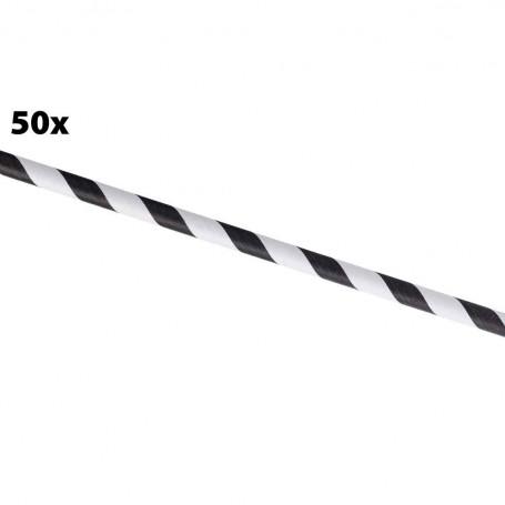 Paille papier black & white - 50