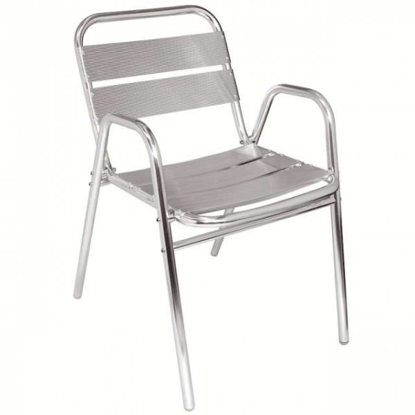 Chaise en aluminium avec accoudoirs matoreca for Chaise de jardin inox