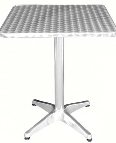 Table bistro carrée en aluminium