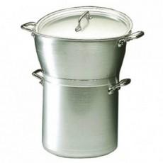 Couscoussier ou marmite cuit-vapeur + couvercle en alu Matfer