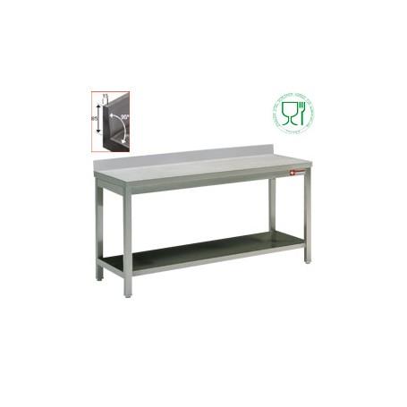 Table de travail + dosseret inox AISI304/441 - 700 mm