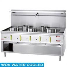 Fourneau wok 5 brûleurs avec rideau d'eau