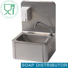 Lave-mains mural + distributeur savon 500ml - mitigeur eau chaude & froide