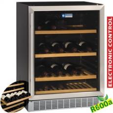 Vitrine cave à vins, ventilée, porte en acier inox, 160 Lt., BLACK
