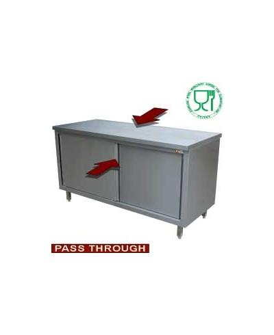 """Table armoire neutre, portes coulissantes, """"traversante centrale"""""""